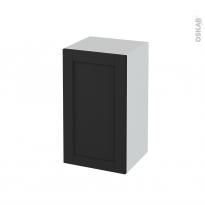 Meuble de salle de bains - Rangement bas - AVARA Frêne Noir - 1 porte - L40 x H70 x P37 cm