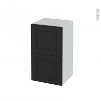 Meuble de salle de bains - Rangement bas - AVARA Frêne Noir - 2 tiroirs - L40 x H70 x P37 cm