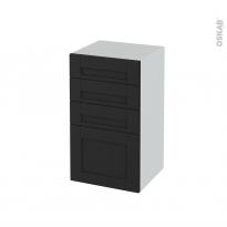 Meuble de salle de bains - Rangement bas - AVARA Frêne Noir - 4 tiroirs - L40 x H70 x P37 cm