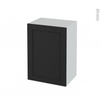Meuble de salle de bains - Rangement bas - AVARA Frêne Noir - 1 porte - L50 x H70 x P37 cm
