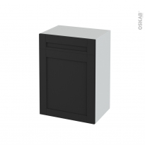 Meuble de salle de bains - Rangement bas - AVARA Frêne Noir - 1 porte 1 tiroir - L50 x H70 x P37 cm