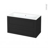 Meuble de salle de bains - Plan vasque NAJA - AVARA Frêne Noir - 2 tiroirs - Côtés décors - L100,5 x H58,5 x P50,5 cm