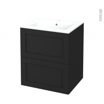 Meuble de salle de bains - Plan vasque NAJA - AVARA Frêne Noir - 2 tiroirs - Côtés décors - L60,5 x H71,5 x P50,5 cm