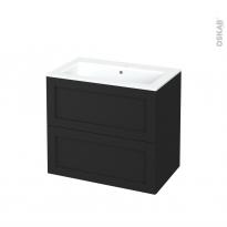 Meuble de salle de bains - Plan vasque NAJA - AVARA Frêne Noir - 2 tiroirs - Côtés décors - L80.5 x H71.5 x P50.5 cm