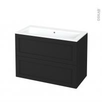 Meuble de salle de bains - Plan vasque NAJA - AVARA Frêne Noir - 2 tiroirs - Côtés décors - L100,5 x H71,5 x P50,5 cm