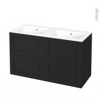 Meuble de salle de bains - Plan double vasque NAJA - AVARA Frêne Noir - 4 tiroirs - Côtés décors - L120,5 x H71,5 x P50,5 cm