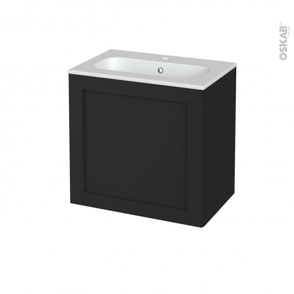 Meuble de salle de bains - Plan vasque REZO - AVARA Frêne Noir - 1 porte - Côtés décors - L60,5 x H58,5 x P40,5 cm