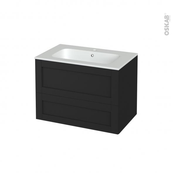 Meuble de salle de bains - Plan vasque REZO - AVARA Frêne Noir - 2 tiroirs - Côtés décors - L80.5 x H58.5 x P50.5 cm