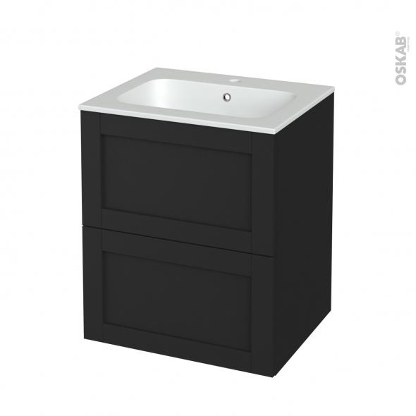 Meuble de salle de bains - Plan vasque REZO - AVARA Frêne Noir - 2 tiroirs - Côtés décors - L60,5 x H71,5 x P50,5 cm