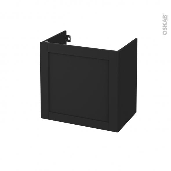 Meuble de salle de bains - Sous vasque - AVARA Frêne Noir - 1 porte - Côtés décors - L60 x H57 x P40 cm
