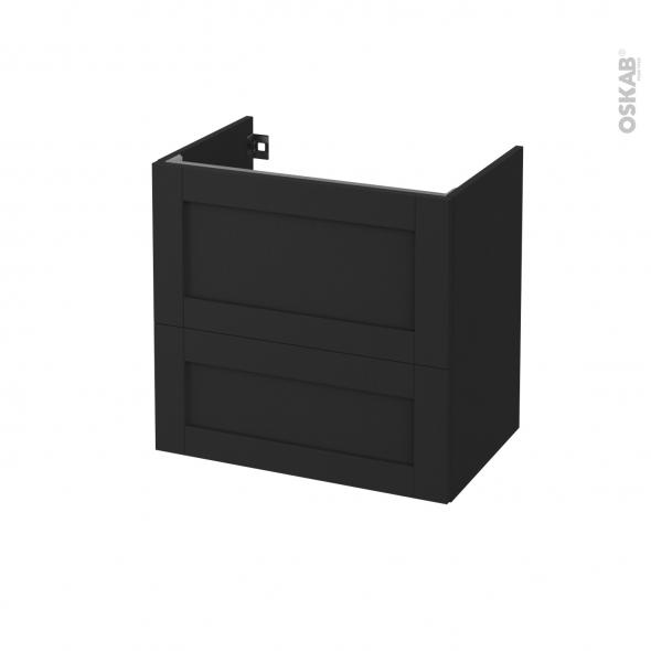 Meuble de salle de bains - Sous vasque - AVARA Frêne Noir - 2 tiroirs - Côtés décors - L60 x H57 x P40 cm