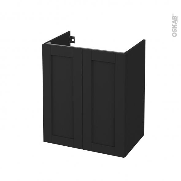 Meuble de salle de bains - Sous vasque - AVARA Frêne Noir - 2 portes - Côtés décors - L60 x H70 x P40 cm