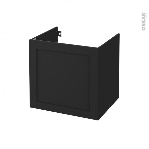 Meuble de salle de bains - Sous vasque - AVARA Frêne Noir - 1 porte - Côtés décors - L60 x H57 x P50 cm