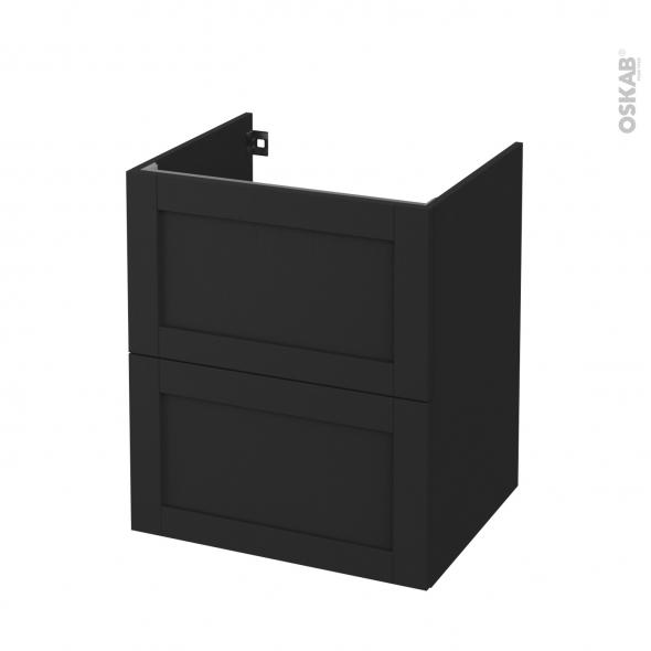 Meuble de salle de bains - Sous vasque - AVARA Frêne Noir - 2 tiroirs - Côtés décors - L60 x H70 x P50 cm