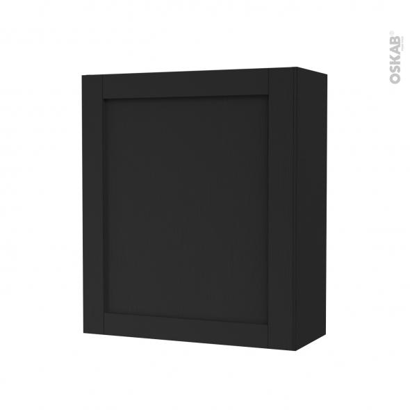 Armoire de salle de bains - Rangement haut - AVARA Frêne Noir - 1 porte - Côtés décors - L60 x H70 x P27 cm