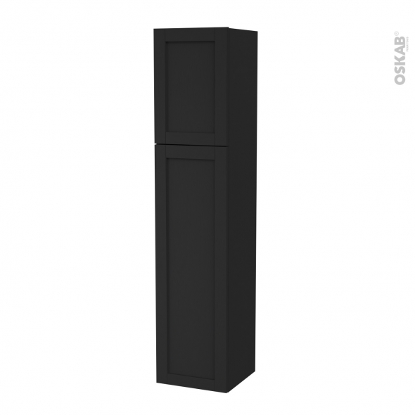 Colonne de salle de bains - 2 portes - AVARA Frêne Noir - Côtés décors - Version A - L40 x H182 x P40 cm