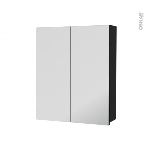 Armoire de toilette - Rangement haut - AVARA Frêne Noir - 2 portes miroir - Côtés décors - L60 x H70 x P17 cm