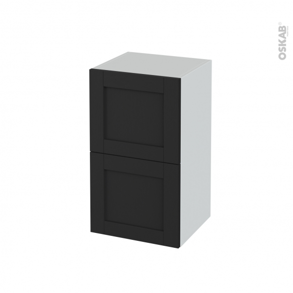 Meuble de salle de bains - Rangement bas - AVARA Frêne Noir - 2 tiroirs 1 tiroir à l'anglaise - L40 x H70 x P37 cm