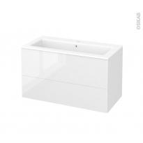 Meuble de salle de bains - Plan vasque NAJA - BORA Blanc - 2 tiroirs - Côtés décors - L100.5 x H58.5 x P50.5 cm