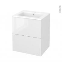 Meuble de salle de bains - Plan vasque NAJA - BORA Blanc - 2 tiroirs - Côtés décors - L60.5 x H71.5 x P50.5 cm