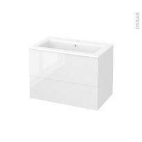 Meuble de salle de bains - Plan vasque NAJA - BORA Blanc - 2 tiroirs - Côtés décors - L80.5 x H58.5 x P50.5 cm