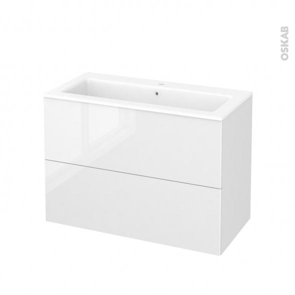 Meuble de salle de bains - Plan vasque NAJA - BORA Blanc - 2 tiroirs - Côtés décors - L100,5 x H71,5 x P50,5 cm