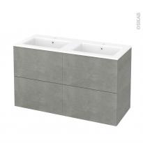 Meuble de salle de bains - Plan double vasque NAJA - FAKTO Béton - 4 tiroirs - Côtés décors - L120,5 x H71,5 x P50,5 cm