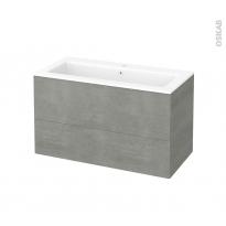Meuble de salle de bains - Plan vasque NAJA - FAKTO Béton - 2 tiroirs - Côtés décors - L100,5 x H58,5 x P50,5 cm