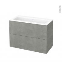 Meuble de salle de bains - Plan vasque NAJA - FAKTO Béton - 2 tiroirs - Côtés décors - L100,5 x H71,5 x P50,5 cm