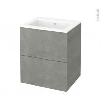 Meuble de salle de bains - Plan vasque NAJA - FAKTO Béton - 2 tiroirs - Côtés décors - L60,5 x H71,5 x P50,5 cm