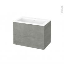 Meuble de salle de bains - Plan vasque NAJA - FAKTO Béton - 2 tiroirs - Côtés décors - L80,5 x H58,5 x P50,5 cm