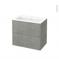 Meuble de salle de bains - Plan vasque NAJA - FAKTO Béton - 2 tiroirs - Côtés décors - L80,5 x H71,5 x P50,5 cm