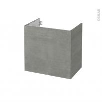 Meuble de salle de bains - Sous vasque - FAKTO Béton - 1 porte - Côtés décors - L60 x H57 x P40 cm