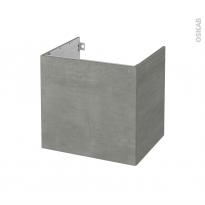 Meuble de salle de bains - Sous vasque - FAKTO Béton - 1 porte - Côtés décors - L60 x H57 x P50 cm