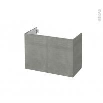 Meuble de salle de bains - Sous vasque - FAKTO Béton - 2 portes - Côtés décors - L80 x H57 x P40 cm