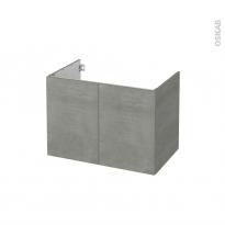 Meuble de salle de bains - Sous vasque - FAKTO Béton - 2 portes - Côtés décors - L80 x H57 x P50 cm