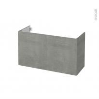 Meuble de salle de bains - Sous vasque - FAKTO Béton - 2 portes - Côtés décors - L100 x H57 x P40 cm
