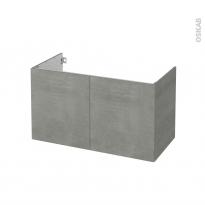 Meuble de salle de bains - Sous vasque - FAKTO Béton - 2 portes - Côtés décors - L100 x H57 x P50 cm