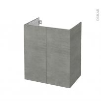Meuble de salle de bains - Sous vasque - FAKTO Béton - 2 portes - Côtés décors - L60 x H70 x P40 cm