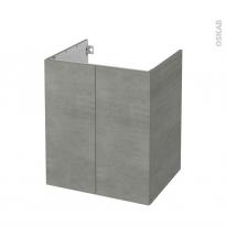 Meuble de salle de bains - Sous vasque - FAKTO Béton - 2 portes - Côtés décors - L60 x H70 x P50 cm