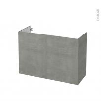 Meuble de salle de bains - Sous vasque - FAKTO Béton - 2 portes - Côtés décors - L100 x H70 x P40 cm