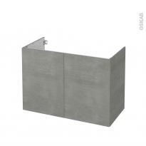 Meuble de salle de bains - Sous vasque - FAKTO Béton - 2 portes - Côtés décors - L100 x H70 x P50 cm