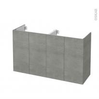 Meuble de salle de bains - Sous vasque double - FAKTO Béton - 4 portes - Côtés décors - L120 x H70 x P40 cm