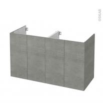 Meuble de salle de bains - Sous vasque double - FAKTO Béton - 4 portes - Côtés décors - L120 x H70 x P50 cm