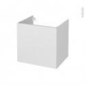 Meuble de salle de bains - Sous vasque - GINKO Blanc - 1 porte - Côtés décors - L60 x H57 x P50 cm