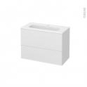 Meuble de salle de bains - Plan vasque REZO - GINKO Blanc - 2 tiroirs - Côtés décors - L80,5 x H58,5 x P40,5 cm