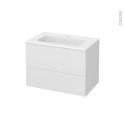 Meuble de salle de bains - Plan vasque REZO - GINKO Blanc - 2 tiroirs - Côtés décors - L80,5 x H58,5 x P50,5 cm