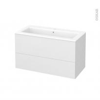 Meuble de salle de bains - Plan vasque NAJA - GINKO Blanc - 2 tiroirs - Côtés décors - L100,5 x H58,5 x P50,5 cm