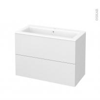 Meuble de salle de bains - Plan vasque NAJA - GINKO Blanc - 2 tiroirs - Côtés décors - L100,5 x H71,5 x P50,5 cm