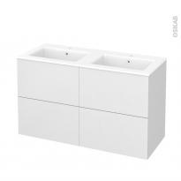 Meuble de salle de bains - Plan double vasque NAJA - GINKO Blanc - 4 tiroirs - Côtés décors - L120,5 x H71,5 x P50,5 cm